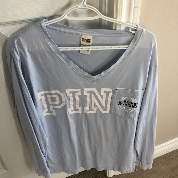 PINK Oversized Baby Blue Tee Size S